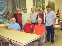 Seated L-R Roman Maldonado, Frank Maldonado, Fred Maldonado; Standing L-R Rudy Maldonado, Wallace Maldonado, Joe Cantu, Peter Maldonado, Freddy Maldonado. The only one not related by blood is Joe. Joe is the grandson-in-law of the late Luz Garza Molina.