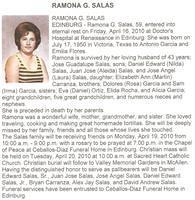 Ramona G Salas obituary from McAllen Monitor. Ramona was the granddaughter of Dolores Garcia and Felicita Molina.